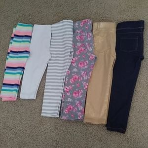 Lot of 6 toddler girls pants size 3T